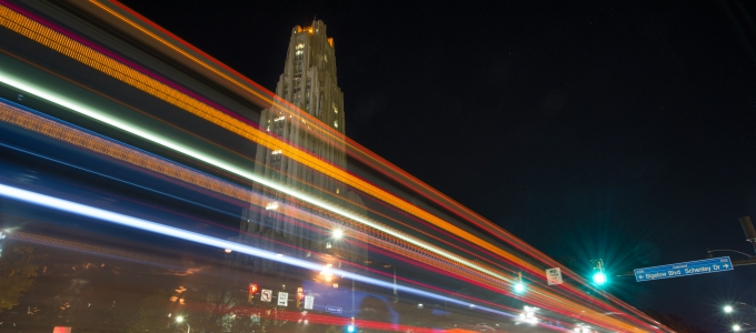The Cathedral of Learning at night